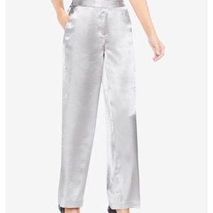 Silver Satin Wide-Leg Pants